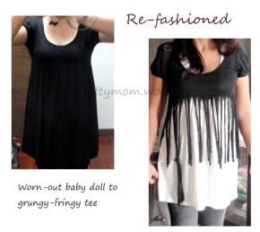 Turn a baby doll dress into a grungy tee