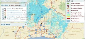 thai flood map translated english traffic evacuation parking center