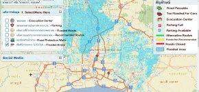 thai flood map translated english traffic evacuation parking center