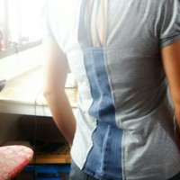 DIY : Refashion T-shirt  with Denim