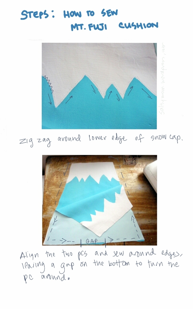 sew a cushion mount Fuji Japan 3