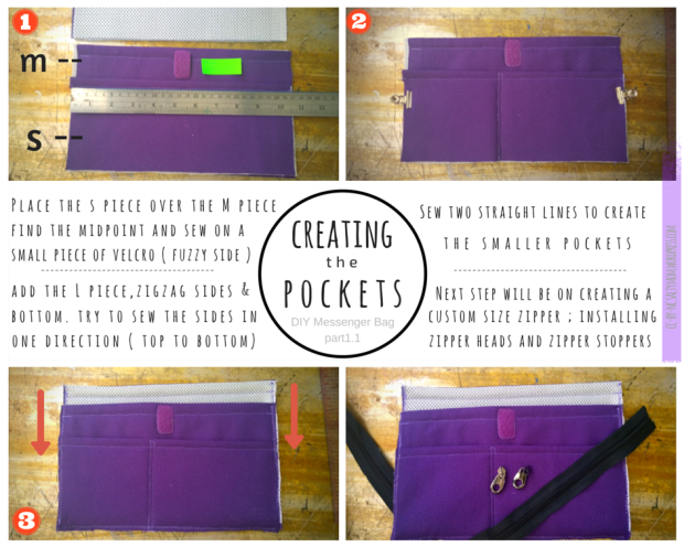 diy messenger bag creating pockets part 1.1