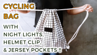 DIY cycling drawstring backpack with jersey pockets, night lights, helmet and cap clip by saltymom.net 200 PX