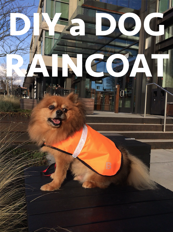 DIY a dog raincoat with reflective band and velcro closure