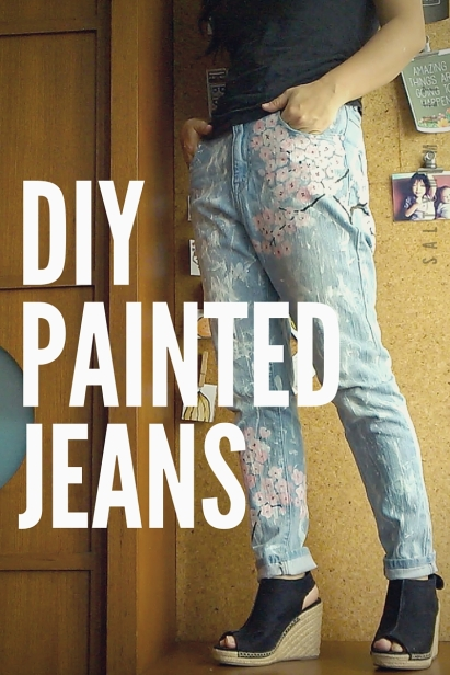 diy painted jeans sakura cherry blossoms splattered style