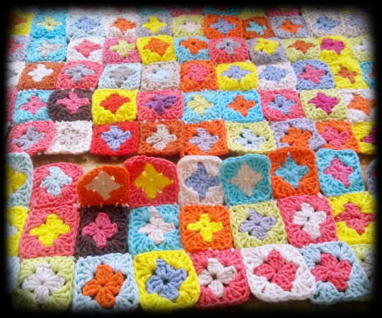 4 crochet granny squares joined from the back