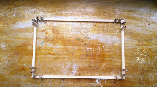 4 glue before nailing the wooden frame corners