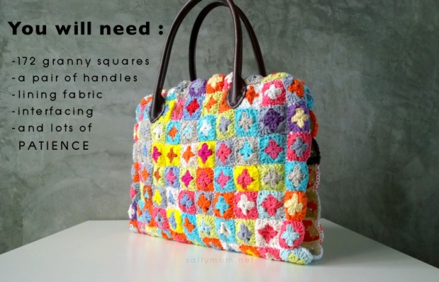 DIY crochet granny squares bag with interfacing lining handle and inner pocket
