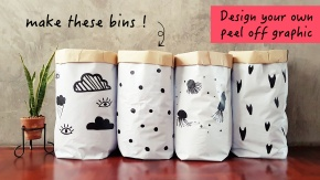 diy graphic vinyl storage bin design your own peel off graphic
