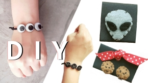 DIY felt oreo cookie chocolate chip cookie bracelet alien pin googly eyes