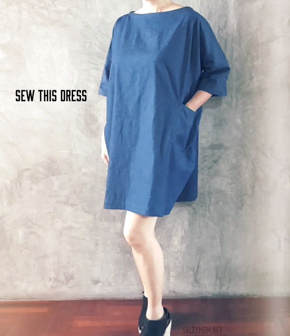 diy sew a boxy roomy shift dress free japanese pattern by saltymom.net
