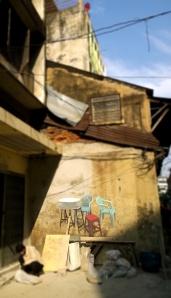 plastic table and chairs graffiti tsong wad bangkok