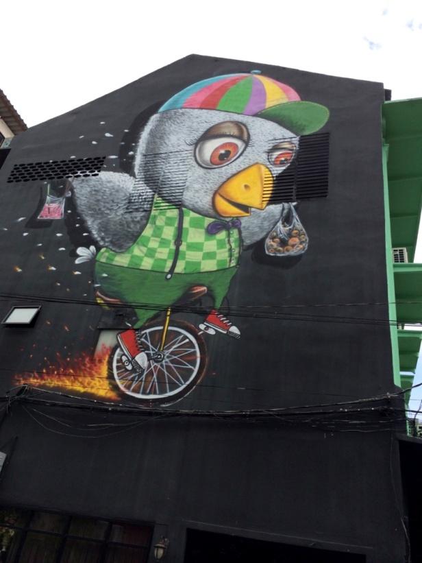 unicycle bird graffiti charoen krung 28