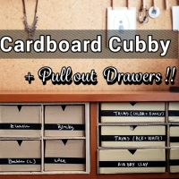 DIY Cardboard Cubby with Pull out Drawers