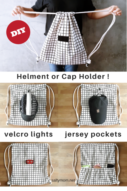 diy drawstring backpack for cycling with helmet holder velcro lights and jersey pockets by saltymom.net.png