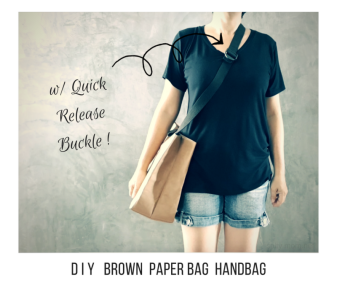 diy brown paper bag handbag with quick release buckle adjustable straps