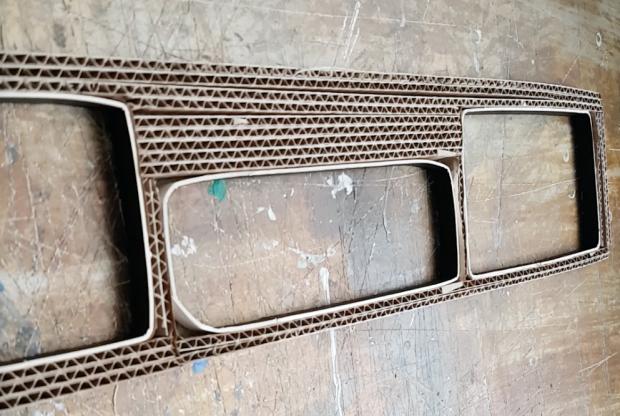 diy cardboard desktop organizer wip