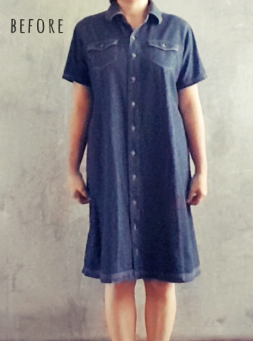 before denim upcycle dress