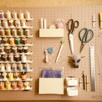 DIY Pegboard with Spool Holders and all the things :)