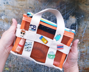 dollar store pouches remake tote bag with enamel pins