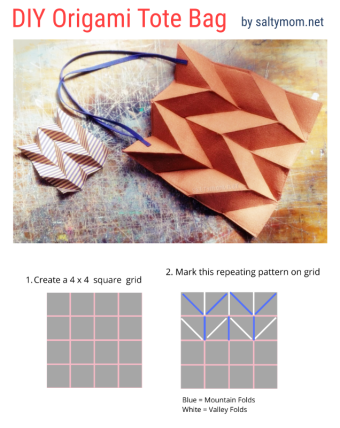 diy origami tessellation pleated tote bag